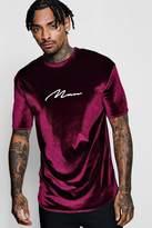 Muscle Fit MAN Foil Velour Longline T-Shirt