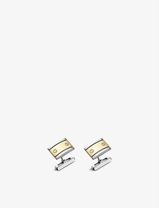 Cartier Santos de 18ct yellow-gold and sterling silver cufflinks