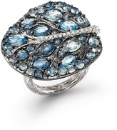 Michael Aram Sterling Silver Botanical Leaf Ring with Blue Topaz and Diamonds