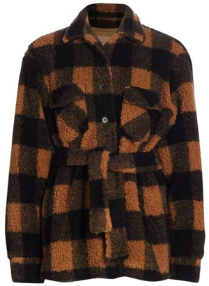 Andamane Evita Belted Plaid Teddy Jacket