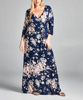Tua Navy & Mauve Floral Surplice Maxi Dress - Plus