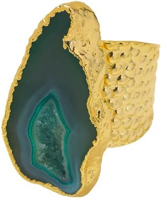 Yaa Yaa London Teal Green Mega Gemstone Gold Statement Ring
