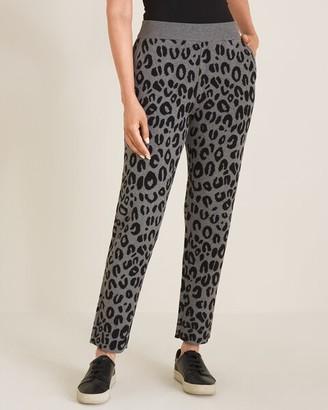 Zenergy Cotton-Cashmere Blend Jacquard Animal-Print Pants