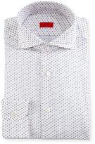 Isaia Flower-Print Dress Shirt, White/Orange/Blue