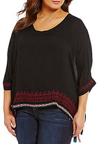Democracy Plus Embroidered Elbow Sleeve Square Top