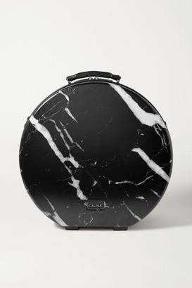 CalPak Baye Medium Marbled Hardshell Hat Box - Black