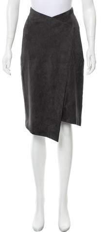 Oscar de la Renta Suede Knee-Length Skirt