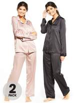 Very 2 Pack Long Sleeve Satin Pyjamas