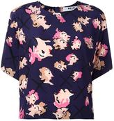 MSGM floral print cropped T-shirt