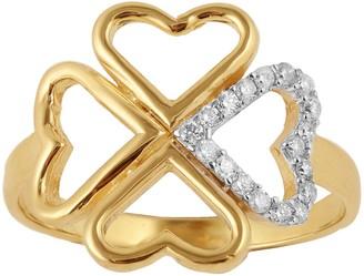 Adi Paz 14K Gold 1/8 cttw Diamond Heart CloverRing