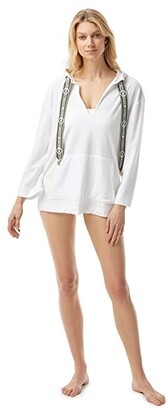 MICHAEL Michael Kors Solid Terry Cover-Up Hoodie w/ Front Pocket and Logo Ties (White) Women's Swimwear