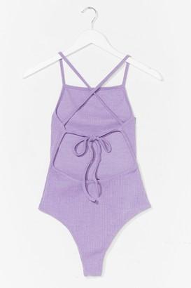 Nasty Gal Never Open Back Down Ribbed High-Leg Bodysuit - Purple