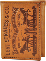 Levi's Cognac Logo-Tooled Trifold Leather Wallet