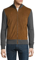 Ralph Lauren Suede-Panel Front-Zip Sweater, Cognac/Gray