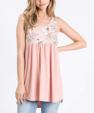 Cool Melon Women's Tank Tops Light - Light Peach & Salmon Floral Color Block Sleeveless Tunic - Women & Plus