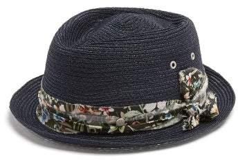 Maison Michel Jac Straw Hat - Womens - Navy
