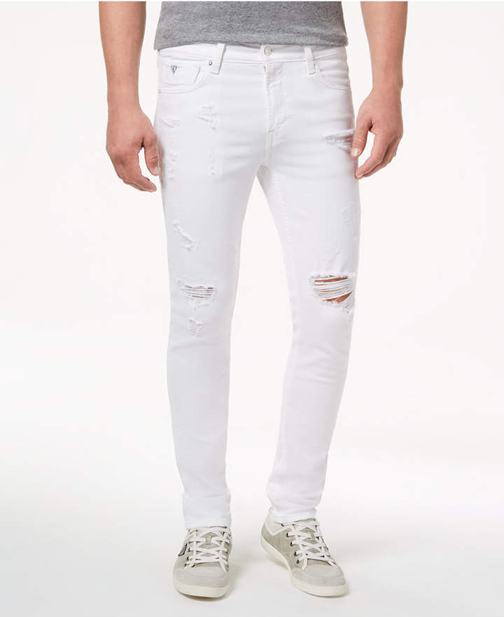GUESS Men White Stretch Skinny Fit Jeans