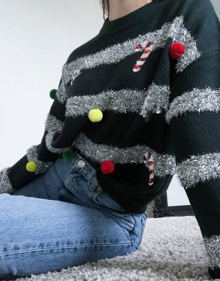 ASOS DESIGN Christmas sweater with tinsel and baubles in green