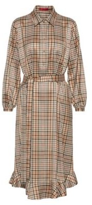 HUGO BOSS Checked relaxed-fit shirt dress with belt
