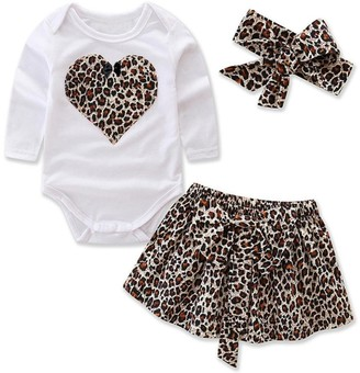 Clode for 0-2 Years Old 3Pcs Newborn Toddler Infant Baby Clothes Set Heart Print Tshirt Romper and Leopard Skirt with Headband Outfit Clothes (3-6 Months