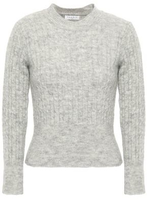 Sandro Cropped Ribbed And Cable-knit Sweater