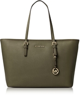 Michael Kors Jet Set Travel Medium Olive Saffiano Leather Top-Zip Tote