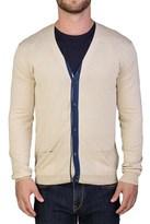 Prada Men's Cotton Cardigan Sweater Beige Blue.