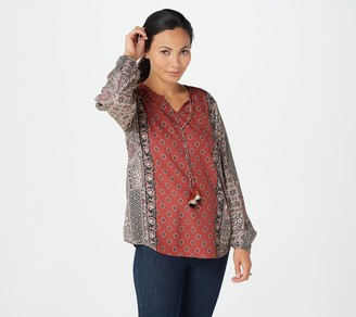 Tolani Collection Mix Printed Long-Sleeve Top w Tassels