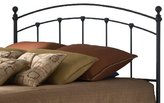Sanford Metal Headboard with Castings and Round Finial Posts, Matte Black Finish, King