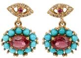 Ileana Makri Diamond, ruby, sapphire & turquoise earrings