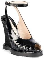 Bottega Veneta Patent Leather Peep-Toe Espadrille Wedge Sandals