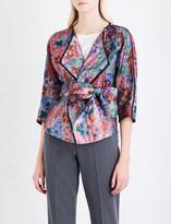 Armani Collezioni Wrap floral-jacquard jacket