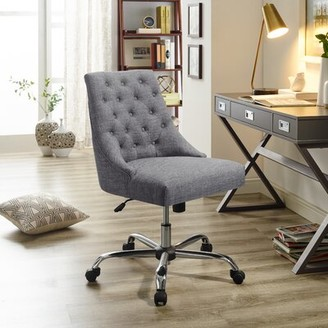 Canora Grey Pettengill Swivel Tufted Executive Chair Upholstery Color: Gray