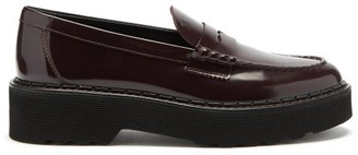 Tod's Flatform Patent-leather Penny Loafers - Burgundy