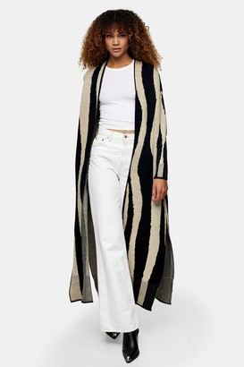 Topshop Womens Black And White Stripe Brushed Maxi Cardigan - Monochrome
