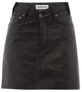 Balenciaga V-waist Grained-leather Mini Skirt - Womens - Black