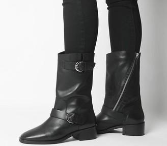 Office Kick Calf Biker Boots Black Leather