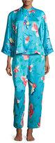 Natori Manila Floral-Print Pajama Set, Blue