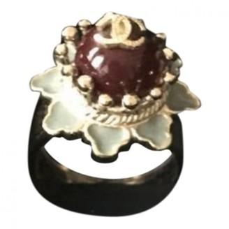 Chanel Burgundy Metal Rings
