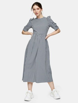 Topshop Gingham Puff Sleeve Midi Dress - Navy