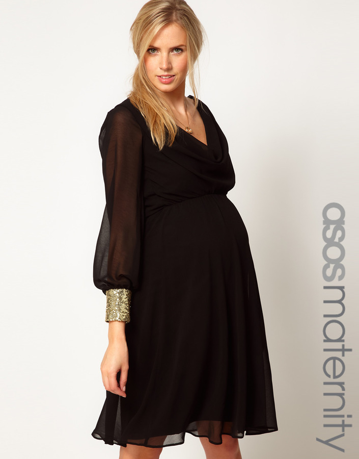 Asos Midi Dress With Cowl Back And Embellished Cuffs