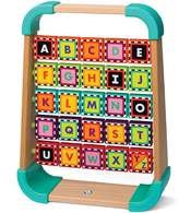 Infantino Natural Wood See N' Spin Alphabet Rack Development Toys