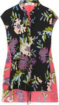 Diane von Furstenberg Asymmetric Floral-print Silk Crepe De Chine Top - Black