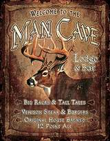 """Desperate Enterprises Man Cave """"Lodge and Bar Tin"""" Sign, 12 by 16-Inch"""