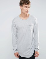Benetton Long Sleeve Top T-Shirt With Pocket In LonglIne