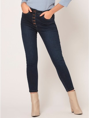 M&Co Petite button front skinny jeans