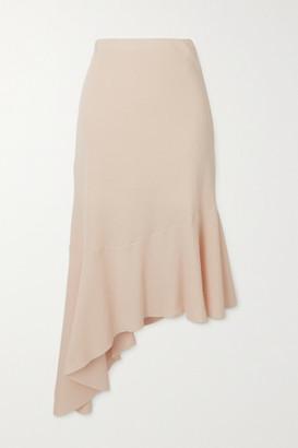 AAIZÉL Asymmetric Ribbed Stretch Cotton And Modal-blend Midi Skirt - Cream