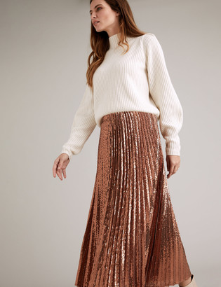 Marks and Spencer Sequin Pleated Midi Skirt