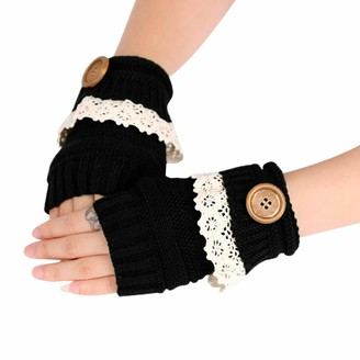 TIFIY Women Cute Half Fingerless Gloves Winter Warm Comfy Soft Running Gloves Fashion Solid Color Lace Patchwork Thick Knitted Short Gloves for Ladies (Free Size