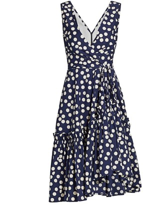 Carolina Herrera Sleeveless Ruffle-Hem Polka Dot Dress